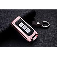 [M.JVisun] Car Remote Keyless Entry Key Case Cover Fob Skin for 3 Buttons Mitsubishi Motors Fortis Lancer EX Outlander ASX , Aircraft Aluminum Shell Genuine Leather With Key Chain - Rose Gold