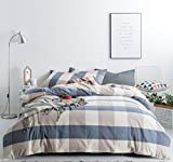 How Large Is a California King Bed SUSYBAO 3 Pieces Duvet Cover Set 100% Natural Washed Cotton King Size 1 Duvet Cover 2 Pillowcases Luxury Quality Soft Breathable Hypoallergenic Blue Checkered Pattern with Zipper Ties