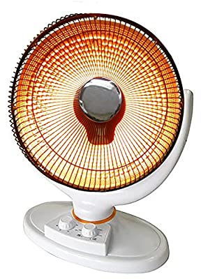 Premium White Floor Radiant Oscillating Parabolic Dish Heater Portable Reflective Electric Hot