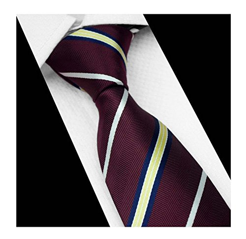 Men Stripe Burgundy Red Yellow White Blue Silk Tie Maroon Autumn Long uk ()