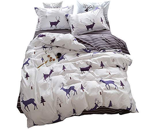 Christmas Twin - ZHIMIAN Bedding Duvet Cover Reversible 3 Piece Animal Print Striped Duvet Cover Set with Zipper Closure(1 Duvet Cover + 1 Pillow Shams),120GSM,Ultra Soft(Twin,White)