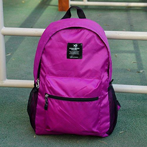 LWJgsa Plegable Bolsa De Hombro Hombres Y Mujeres Mochila Senderismo Bolsa Luz Dinero Viajar Portatil Bolsa De Almacenamiento Lago Azul Rosa Púrpura