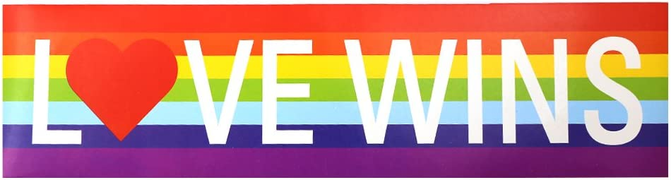 "Fundraising For A Cause Love Wins Rainbow Bumper Sticker - 11.5"" x 3"" Rectangle Bumper Sticker car Decal (1 Sticker - Retail)"