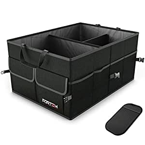 FORTEM Car Trunk Organizer For SUV Truck | Auto Durable Collapsible Cargo Storage | Non Slip Bottom Strips To Prevent Sliding | Bonus Foldable Thin Nylon Waterproof Cover