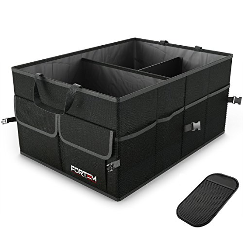 Car Trunk Organizer For SUV Truck - Auto Durable Collapsible Cargo Storage - Non Slip Bottom Strips to Prevent Sliding w/ Bonus Foldable WATERPROOF COVER (NEW - Store Cargo