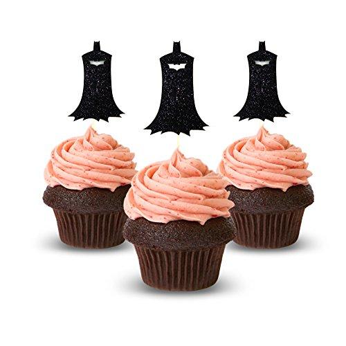 Bat Man Cupcake Topper 12Pack Decoration Cake glitter Foamy black -