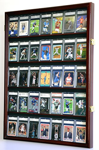 Card Sport Collectibles (35 Graded Sport Cards / Collectible Card Display Case Wall Cabinet w/98% UV Door, Lockable, Cherry)