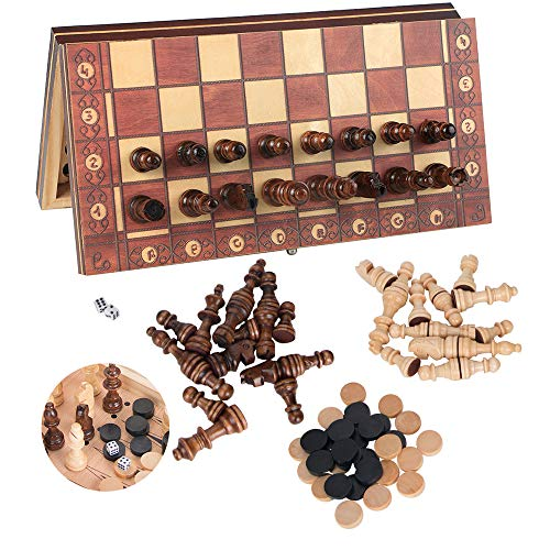 3-in-1 Wooden Chess Set & Checkers & Backgammon Set with Folding Carrying Case Folding and Travel Chess Board for Kids Teens Adults 11 inch