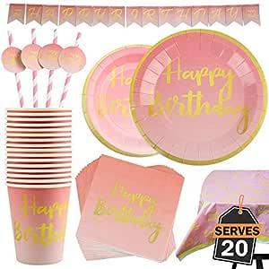 102 Piezas Color Rosa y Dorado para Celebración de Cumpleaños Infantil – Artículos de Fiesta Desechables de Cartón - Vasos, Platos, Mantel, ...