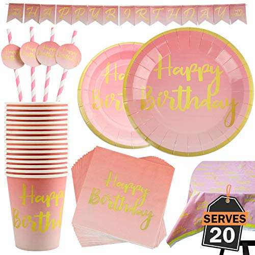 102 Piece Pink and Gold Theme Happy Birthday Party Set Including Banner, Plates, Cups, Straws, Napkins and Tablecloth, Serves 20