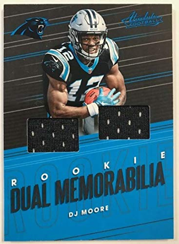 2018 Absolute Football Rookie Dual Memorabilia #17 DJ Moore MEM Carolina Panthers Official NFL Trading Card made by Panini from Absolute Football