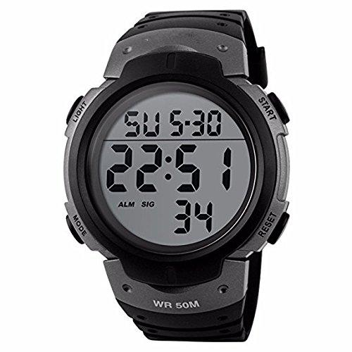 Gog Mens Military Digital Waterproof Sport Watch Electronic Led Watch  Titanium Black