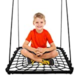 KHOMO GEAR - Rectangular Platform Swing and Spin Seat Set with Tree Swing Hanging Kit - Black - Large 40'' x 30''