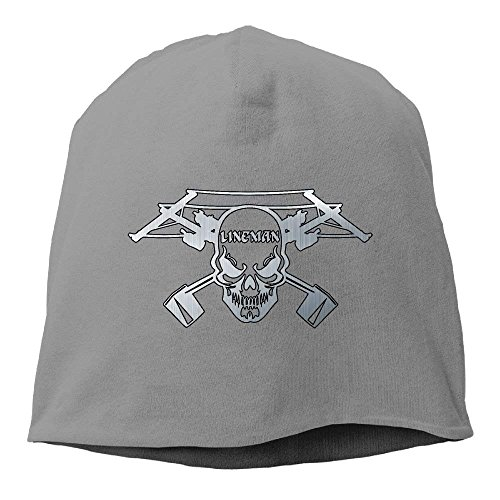 Lineman Skull Electrician Power Unisex Knit Hat Soft Stretch Beanies Skull Cap Hedging Cap DeepHeather
