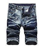 CLANNAD Men's Moto Biker Shorts Jeans Zipper Denim Casual Slim Shorts with Hole Retrol Blue 36