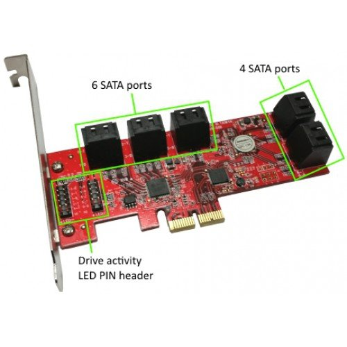 10 Ports AHCI 6Gbps SATA III Low Profile PCIe 2.0 Host Adapter