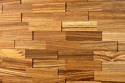 (wodewa Natural Zebrano Cladding for Interior Walls I 1m² Wooden Wall Cladding 3D Wall Panels Modern Wall Covering Living Room Kitchen Bedroom Wall Decoration Panelling)