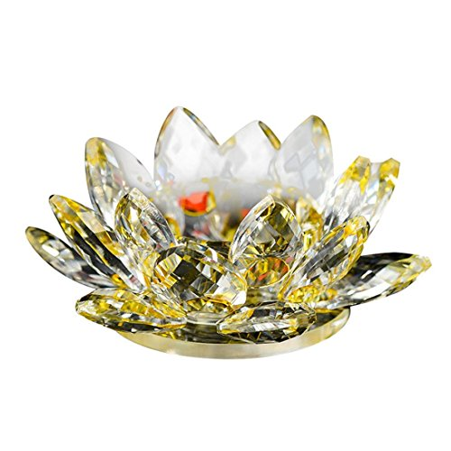 Buddhist Lotus Flower (Woaills Crystal Glass Lotus Flower Candle Tea Light Holder Buddhist Candlestick Diameter-80mm HOT (C))