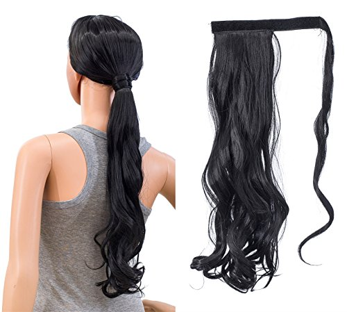 SWACC Women Long Straight/Curly Wavy Wrap Around Ponytail Extension Synthetic Hair Piece Clip in Hair extensions (Curly Wavy, 1B#-Off Black) ()