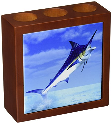 3dRose ph_58819_1 Marlin Fish Coming Out of The Water Tile Pen Holder, 5-Inch