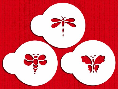 Designer Stencils C727 Mini Bugs Cookie Stencil Set, (Bumble Bee, Dragonfly and Butterfly) Beige/semi-transparent