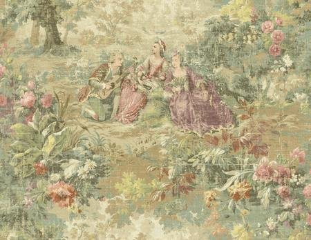 Pink Toile Wallpaper - Wallpaper Designer Traditional French Scenic Toile Plum Green Pink Blue Tan