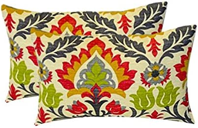 Set of 2 – Indoor Outdoor Rectangle Lumbar Decorative Throw Toss Pillows Raspberry, Gray, Orange, Green Ornate Floral