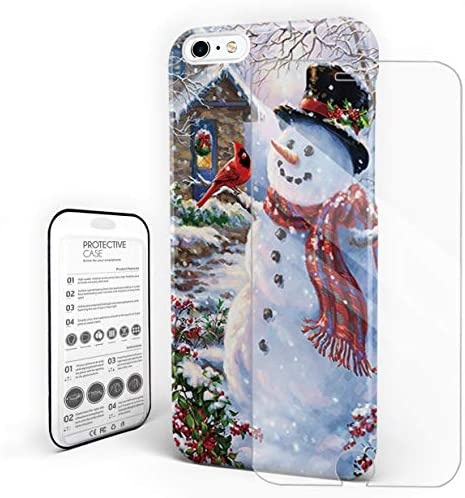[해외]Christmas SnowmanBirds Phone Case Protective Design Durable Hard PC Back Phone CoverTempered Glass Screen Protector Compatible for iPhone 7 PlusiPhone 8 Plus / Christmas SnowmanBirds Phone Case Protective Design Durable Hard PC Bac...