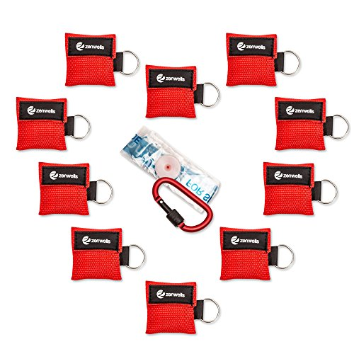 CPR Mask Key Chain Ring: 10-Pack Face Mask Medical for Adults & Children, EMT Supplies Backpack, Perfect for Everyday Emergencies, First Aid Kit, Lifeguards and Rescue AED Training