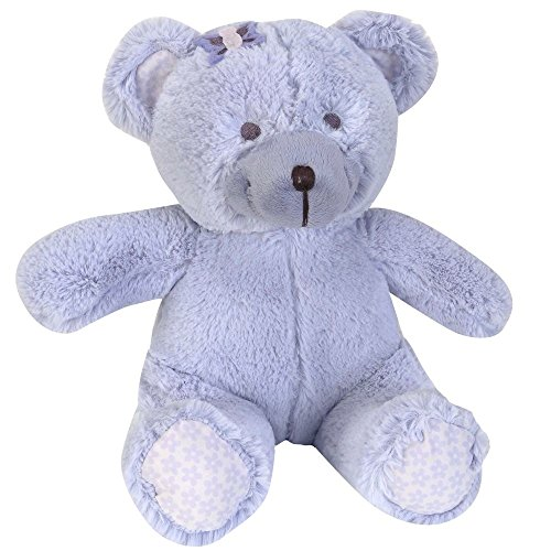 NoJo Beautiful Butterfly Plush Bear with Felt Butterfly Bow, Lavender/Grey/White