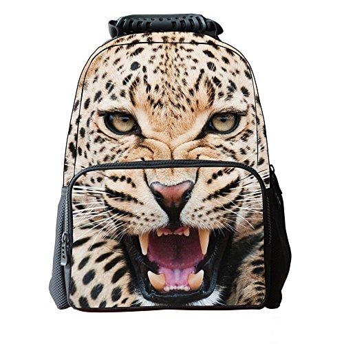 Skymoon Children's 3D Animal School Backpacks (16 Inch,Yellow Leopard) -