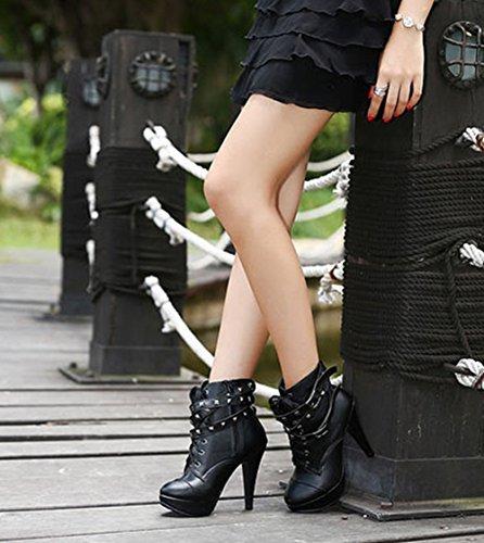 Wealsex Bottine Talon Haut Aiguille Plateforme PU Cuir Noir Bottine à Lacets Low Cheville Rivet Femme
