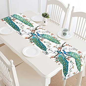 InterestPrint Beatiful Peacock Lover Polyester Table Runner Placemat 16 X  72 Inch, Flower Floral Tree