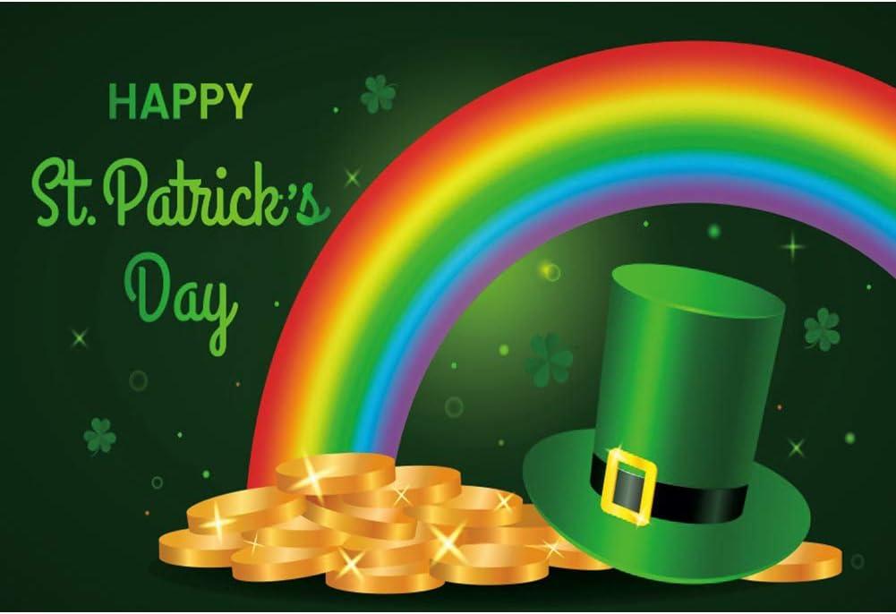 CSFOTO 10x8ft Happy St Patricks Day Backdrop Saint Patricks Day Decor Banner Leprechaun Hat Shamrock Pot of Gold Rainbow Irish Lucky Day Background for Photography