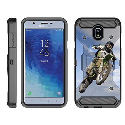 (TurtleArmor | Compatible Samsung Galaxy J3 (2018) Case | J337 [Armor Pro] Heavy Duty Full Body Kickstand Holster Belt Clip Armor Case Sports Games - Motocross Bike)