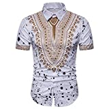 UPLOTER Men's Short Sleeve African Dashiki Graphic Hipster Hip Hop Curved Hem T-Shirt (White, M)