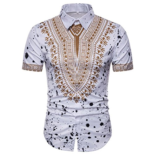 UPLOTER Men's Short Sleeve African Dashiki Graphic Hipster Hip Hop Curved Hem T-Shirt (White, 2XL) by UPLOTER__Men Shirt