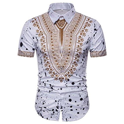 UPLOTER Men's Short Sleeve African Dashiki Graphic Hipster Hip Hop Curved Hem T-Shirt (White, 2XL) by UPLOTER__Men Shirt (Image #1)