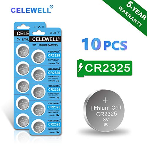 - 【5-Year Warranty】 CELEWELL CR2325 Battery 3V Lithium Batteries (10 Pack)