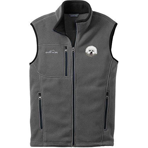 Cherrybrook Dog Breed Embroidered Mens Eddie Bauer Vest - Small - Gray Steel - Bichon Frise (Bichon Frise Vest)