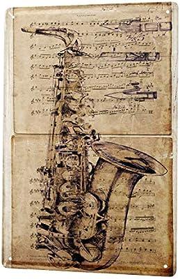 LEotiE SINCE 2004 Cartel Letrero de Chapa Cine Instrumento Musical del saxofón