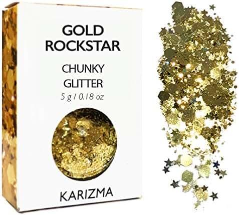 Gold Rockstar Chunky Glitter ✮ COSMETIC GLITTER ✮ Festival Face Body Hair Nails