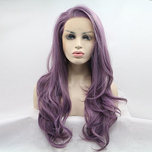 eNilecor Purple Lace Front Wig Women Long Synthetic Realistic Wavy Glueless Hair Replacement Wigs ()