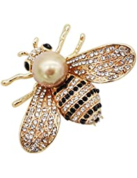 Honey Bee Brooches, Gold Tone and Mother of Pearl Brooch