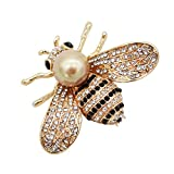ZUOZUOYA Honey Bee Brooches,Gold Tone and Mother of Pearl Brooch