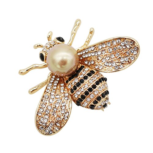 ZUOZUOYA Honey Bee Brooches, Gold Tone and Mother of Pearl Brooch