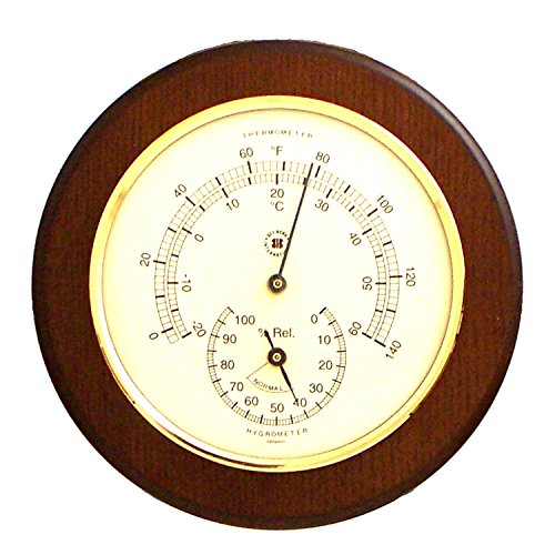 Cherry Wood Thermometer and Hygrometer with Solid Brass Bezel by Bey-Berk
