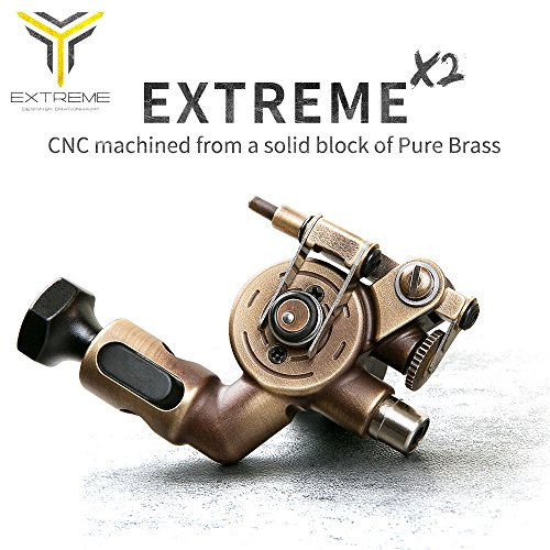 Price comparison product image Dragonhawk Extreme X2 Rotary Tattoo Machine Brass Frame CNC Machine RCA Connected for Tattoo Artists