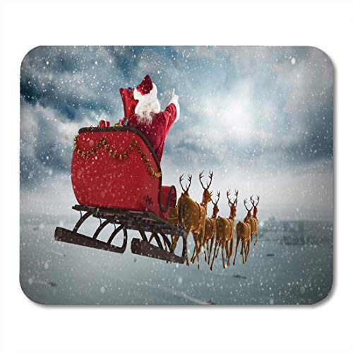 (Mouse Pad Santa Claus Riding on Sleigh During Christmas Against Coastline Mousepad for Notebooks,Desktop Computers Mouse Mats)