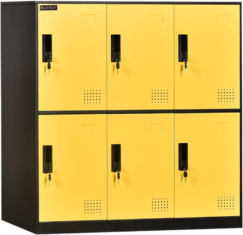 6 Door Locker Office Storage Locker Home and School Storage Organizer Metal Storage Cabinet with Lock for Classroom Gym Kids Room Playroom (Yellow)